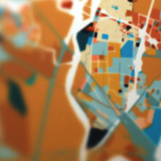 "(Detail)  Contaminated? Glow,  2011 GIS map with artist intervention and missing meta-data, 24"" x 36"""